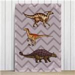 Placa Decorativa Infantil Dinossauro Jurassic Roxo 30x40cm