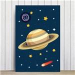Placa Decorativa Infantil MDF Sistema Solar Saturno 30x40cm