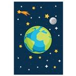 Placa Decorativa Infantil MDF Sistema Solar Terra 30x40cm