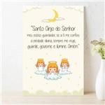 Placa Decorativa Infantil Oração Anjo da Guarda Lua 20x30
