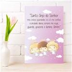 Placa Decorativa Infantil Oração Anjo da Guarda Rosa 30x40cm
