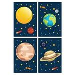Placa Decorativa Infantil Sistema Solar Kit 4un 20x30cm