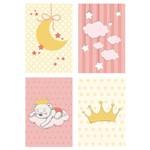 Placa Decorativa Infantil Ursinha Princesa Kit 4un 30x40cm