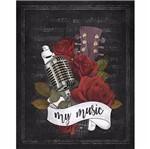 Placa Decorativa Litoarte Dhpm-223 24x19cm Microfone My Music
