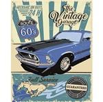 Placa Decorativa Litoarte DHPM-377 24x19cm Mustang Azul Route 60'S