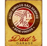 Placa Decorativa Litoarte Dhpm-228 24x19cm Indio Dads Garage