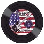 Placa Decorativa Litocart Lpdv-009 30x30cm Disco Vinil Guitarra Bandeira Estados Unidos