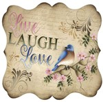 Placa Decorativa Litocart LPQC-065 25x25cm Live Laugh Love