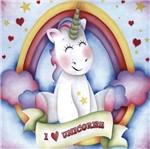 Placa Decorativa Litocart LPQC-071 25x25cm I Love Unicorns