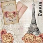 Placa Decorativa Madeira Pequena Amor e Paris Lppc-02 - Litocart