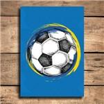 Placa Decorativa MDF Bola de Futebol Fundo Azul 20x30cm