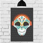 Placa Decorativa MDF Caveira Mexicana com Fone de Ouvido
