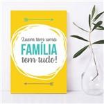 Placa Decorativa MDF Frase Familia Amarela 20x30cm