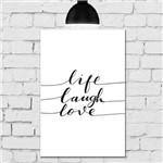 Placa Decorativa MDF Frase Life Love Laugh