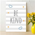 Placa Decorativa MDF Infantil Be Kind Azul 20x30cm
