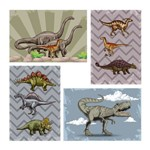Placa Decorativa MDF Infantil Dinossauro Jurassic Kit 4un