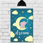 Placa Decorativa MDF Infantil Elefante na Lua Azul