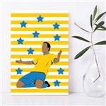 Placa Decorativa MDF Infantil Futebol Gol Jogador Amarelo