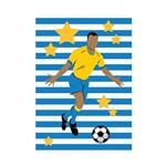 Placa Decorativa MDF Infantil Futebol Gol Jogador Azul