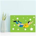Placa Decorativa MDF Infantil Futebol Gol Jogador Verde
