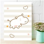 Placa Decorativa MDF Infantil Hipopótamo Marrom 20x30cm