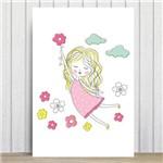 Placa Decorativa MDF Infantil Menina e Flores 20x30cm