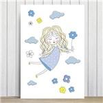 Placa Decorativa MDF Infantil Menina e Flores Azuis 20x30cm