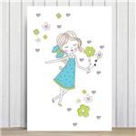Placa Decorativa MDF Infantil Menina Flores Turquesa 30x40cm