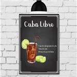 Placa Decorativa MDF Receitas de Drink Cuba Libre