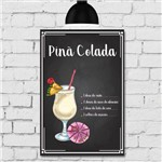 Placa Decorativa MDF Receitas de Drink Piña Colada