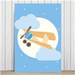 Placa Decorativa para Quarto Infantil Azul Aviao e Lua 20x30
