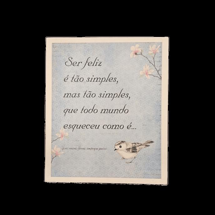 Placa Decorativa Poema Passarinho MDF