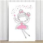 Placa Decorativa Quarto de Menina Fada Rosa 30x40cm