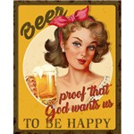Placa Decorativa Retro Beer 24x19cm Dhpm-166 - Litoarte