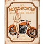 Placa Decorativa Retro Mulher e Moto Laranja 24x19cm Dhpm-170 - Litoarte