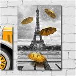 Placa Decorativa Torre Eiffel Detalhe Amarelo