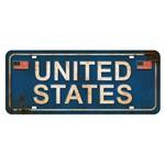 Placa Decorativa United States 14,6x35cm Dhpm2-073 - Litoarte