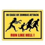 Placa em Caso de um Ataque de Zumbis Corra