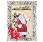 Placa em MDF 3D Litoarte DHN-007 26x18,5cm Natal Papai Noel na Moldura