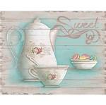 Placa em MDF e Papel Decor Home Chá e Macarons DHPM-072 - Litoarte