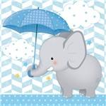 Placa em Mdf e Papel Decor Home Elefante com Guarda-Chuva Menino Dhpm-088 - Litoarte