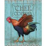 Placa em MDF e Papel Decor Home Galo Chefe de Cozinha DHPM-076 - Litoarte