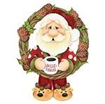 Placa em MDF Natal Litoarte DHN-009 31,5x27,5cm Papai Noel e Guirlanda