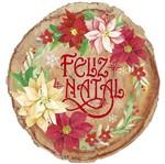Placa em MDF Natal Litoarte DHN-031 25x23,5cm Tronco Feliz Natal