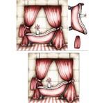 Placa Madeira Quadrada 3D Banheiro Rosa 25x25 LPQC3D-001 - Litocart