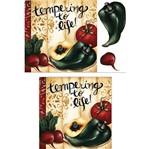 Placa Madeira Quadrada 3D Pimentão, Rabanete e Tomate 25x25 LPQC3D-008 - Litocart