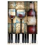 Placa MDF Retangular 22x32 Taça Vinho e Piano LPQM-002 - Litocart