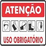 Placa SINALIZAÇÃO ATENÇÃO Epi Uso Obrigatorio (30X20X0,80MM)