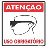 Placa SINALIZAÇÃO ATENÇÃO ÓCULOS Uso Obrigatorio (20X30X0,80MM)