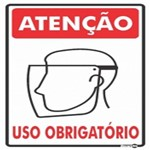 Placa SINALIZAÇÃO ATENÇÃO Prot. Facial Uso Obrigatorio (20X30X1MM)